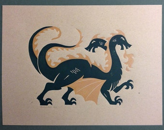 Two-Headed Fire Breathing Dragon - Lino Block Print