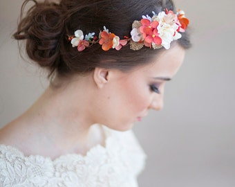 fall headband, fall wedding flower crown, autumn flower crown, burnt orange, flower girl headband, rustic wedding, cream autumn hairpiece