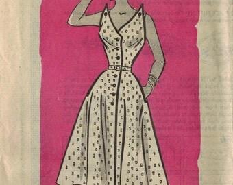 1950s Mail Order 3883 Vintage Sewing Pattern Misses Sundress, Step-In Dress, Spectator Dress Size 14 Bust 32