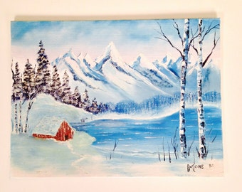 vintage painting - winter landscape - acrylic on canvas