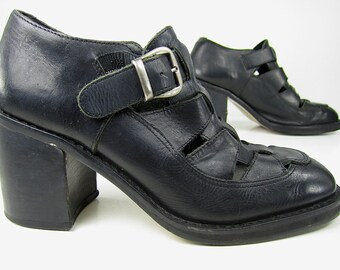 vintage 1990s woven BLACK leather mary jane PLATFORMS buckle straps womens 6 6 1/2 punk cutie fruits GOTH gothic lolita witchy dark princess