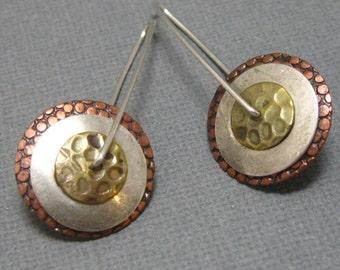 Sterling, Brass, and Copper Triple Pinwheel Earrings