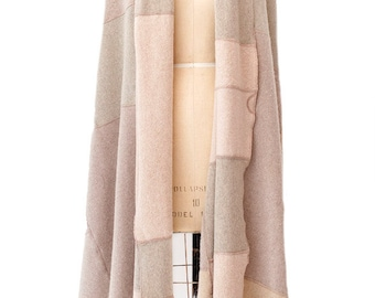 recycled cashmere poncho wrap throw blanket in oatmeal and taupe