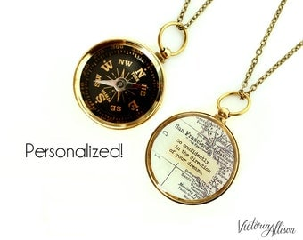 Large Custom Map Compass Necklace with Personalized Quote, Working Compass, Graduation Gift, Brass or Silver