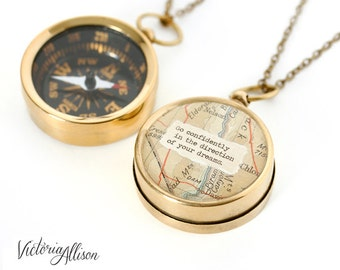 Working Map Compass Necklace - Go Confidently in the Direction of Your Dreams - or Personalized Quote, Inspirational, Graduation Gift