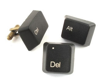 Control Alt and Delete Cufflinks and Tie Pin, Handmade from Computer Keyboard Keys, Wedding, Grooms, Groomsmen, fathers day gift