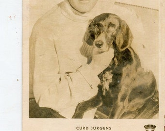 Vintage postcard from the 1960s of Curt, aka Curd, Jurgens Real Photo Vintage Postcard, European movie star; Union Films