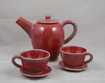 Tea Set for Children Copper Red with Cups and Saucers