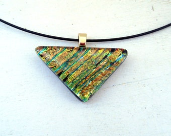 Triangle Pendant | Geometric Jewelry | Gold Green Accessory | Fused Glass | Glass Art | Fusion | Boho Jewelry | Bohemian Style | Art Deco
