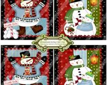 Christmas 1407 Snowmen Coasters Tiles Printable Handmade Digital Collage Sheet