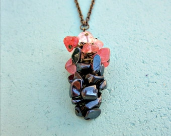 Adjustable Rustic Brass Chain Necklace with Beaded Hematite and Rose Quartz Cluster: Hyacinth