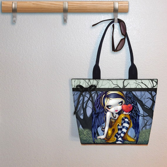 Tote bag, Heart of Nails Jasmine Becket Griffith, book tote, large purse, canvas tote, shoulder bag