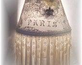 New Fleur de Lis PARIS Night Light French Script with Appliques and Long Ivory Fringe and Silver Fleur de Lis