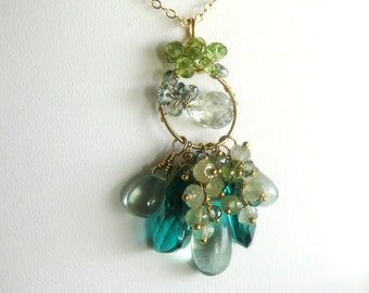 Sea Green Cluster Gemstone Necklace, quartz, peridot, prasiolite, gold filled, statement necklace