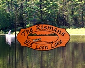 Family Name Location Sign - Canoe Lake Scene with color highlights and round garden holder - Custom Carved Redwood Sign