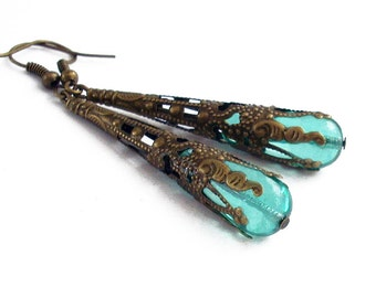 Pale Teal Glass Drop Earrings Wrapped in Bronze Filigree