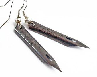 With Deepest Regards - Vintage Pen Nib Earrings Jewelry