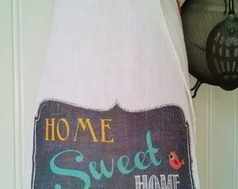 HOME Sweet HOME Tea Towel, Chalkboard Kitchen Towel, Rustic Home Kitchen Towel,