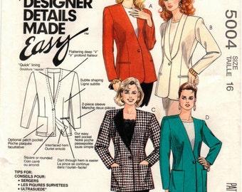 UNCUT McCall's Pattern 5004 - Misses Creative Cardigan - Palmer & Pletsch - Size 16