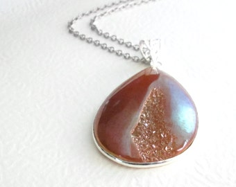 Orange Druzy Necklace, Crystal Geode Pendant, Sparkling Jewelry