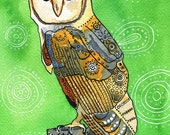 Barn owl print- bird art- watercolor and ink bird illustration- by Rachel Devenish Ford