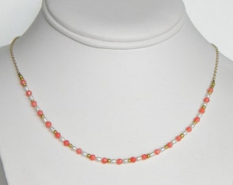 Delicate Freshwater Pearl and Coral Necklace