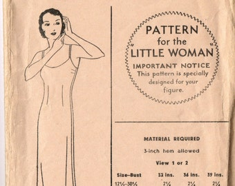 ReDuced VINTAGE Pictorial Review Printed 1920s 1930s Slip Pattern for the Little Woman Size 14 5794