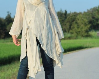 Tunic thin  linen/cotton  / long sleeve Ivory and more colour avalible / blouse /Boho/(1133) One size