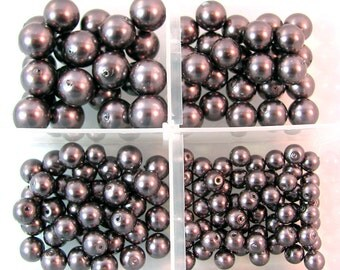 Round Silver Glass Pearls 5 Graduated Sizes