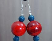 SALE! Large Hand-painted Wooden Bead Earrings - Rust Red - Teal - Sterling Silver Hooks  -  Bright - Colourful - Fun - Varnished