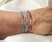 Sweet 1Cross Crucifix  Colorful Glass Pearls Beads  OOAK Bracelet Elastic Stretchy