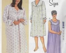 Kwik Sew 2863 Womens V or Scoop Neck NIGHTGOWN Pattern Shaped Yoke Lace Trim Plus Size Sewing Pattern Size 1X 2X 3X 4X  Bust 45 - 57 UNCUT
