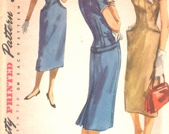 Simplicity 1527 1950s Junior Misses Slim Dress Pattern Curved Seaming Womens Vintage Sewing Pattern Size 11 Bust 29