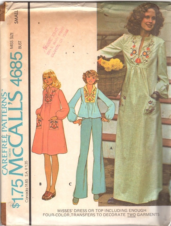 McCalls 4685 1970s  Misses  Hippie Pullover  Dress and Top Pattern with  Four Color Transfers Size Small Bust 32 34 UNCUT