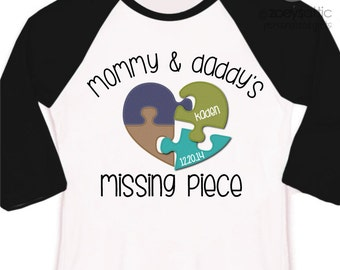 Adoption shirt mommy and daddy's missing piece puzzle adoption announcement personalized raglan Tshirt - makes a great gift