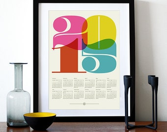 2015 calendar print poster, Black Friday, retro kitchen art, cmyk, Mod Century Modern office, Eames, typography poster, graphic design - A3