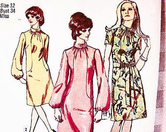 1970s Dress Pattern Misses size 12 Womens Long Sleeve Stand up Collar Dress Vintage Sewing Patterns 70s