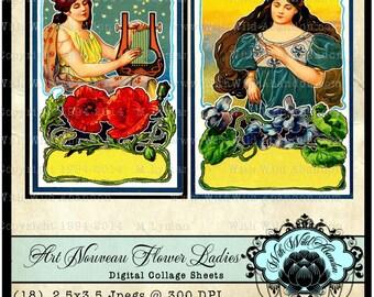 Art Nouveau Women and Flower Postcards, Digital Collage, ACEO, ATC, Printable PDF, Printable Ephemera