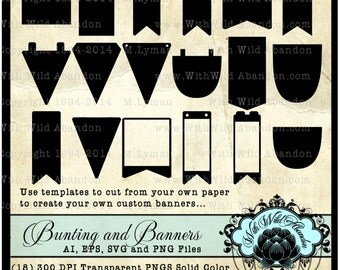 Bunting or Banner SVG,  Clipart, Vector and Cutting files, Bunting Template, DIY Banner svg, eps, ai, vector, png