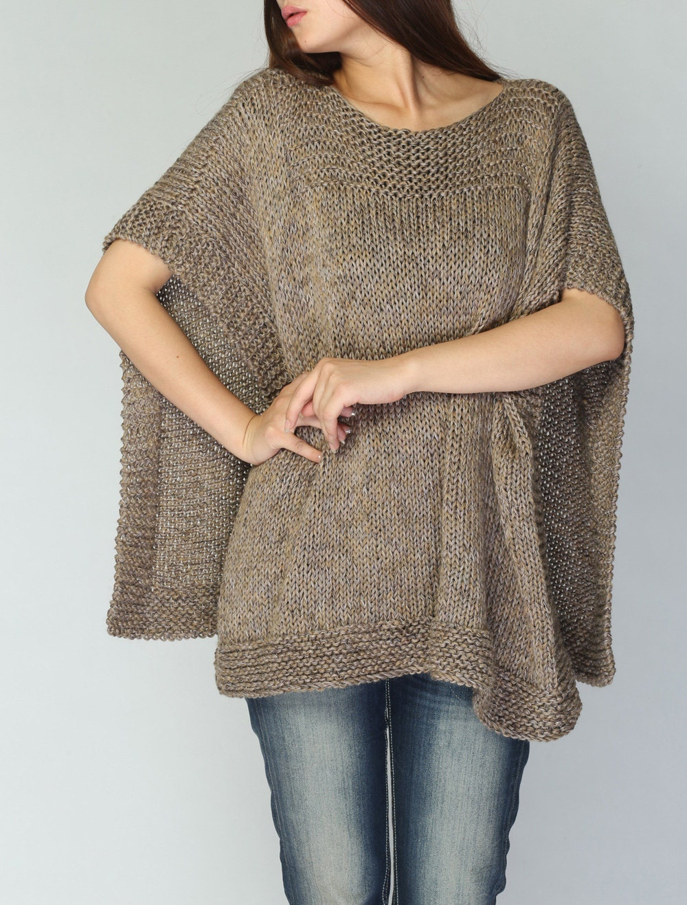 Vogue Knitting Cape Pattern : Hand knit woaman Poncho/ capelet eco cotton poncho dark wheat
