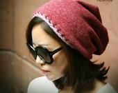 Slouchy hat, crochet hat, slouchy women's beanie, reversible hat - KB166