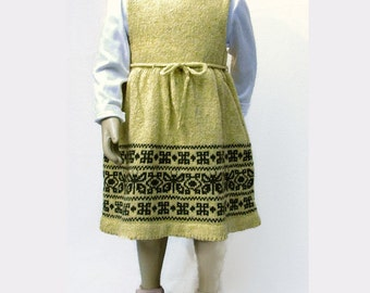 Knit Wool Tweed  Dress or Pinafore for  Toddler Girl  - Jacquard/Fair Isle - Folk Art