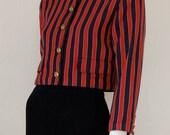 Sailor Crop Jacket Vintage 80s Striped Nautical Sailor Crop Shrunken Indie Blazer Jacket  (s m)