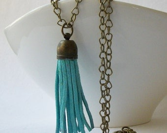 ON SALE Mint Faux Leather Brass Tassel Necklace, Custom Length