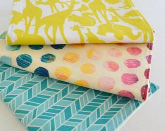 Set of 3 Eco - Organic Burp Cloths . Zoology Citron, Rainbow Dot & Aqua Herringbone . Baby Shower Gift