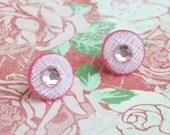 PRETTY IN PINK Button Earrings - Repurposed Jewelry