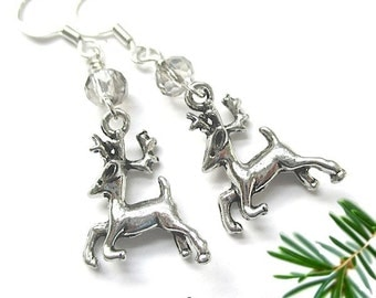 Christmas Earrings, Silver Reindeer Earrings Holiday Jewelry Woodland Deer Stocking Stuffers Gift for Her. Cute Xmas Jewelry for Woman