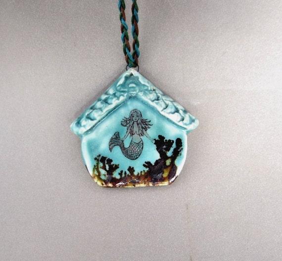 Mermaid Lagoon Pendant - Handmade Original Miniature Ceramic Art Necklace
