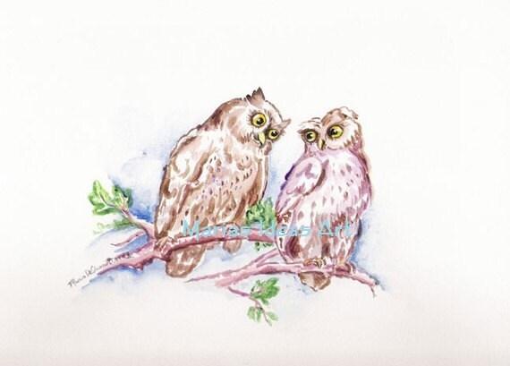 Owl art, owl in tree, Love Birds, Owl art, Bird on branch, Tree Branch Watercolor Print