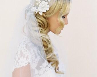 Lace Adorned Juliet Cap, Wedding Veil, Bridal Cap Veil, Tulle Veil, 1920s Veil, Gold Lace Veil, Lace Veil, Lace Juliet Cap Veil, 1516